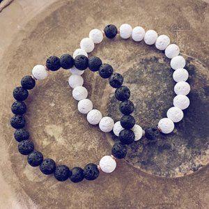 beaded lava bracelet // wrist mala bead bracelet